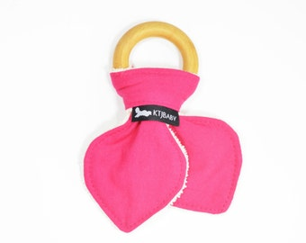 100% Organic Baby Gift   Pink Teething Ring   Girl Baby Teething Gift