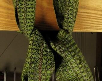 Handwoven scarf woven with green tencel a very silky feeling fiber