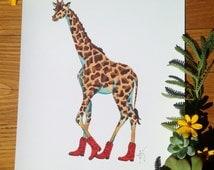 Giraffe print, Art print, 8.5x11 watercolor, wildlife, nature, Cowboy boots, red cowboy boots