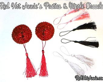 Rhinestone Burlesque Pasties w/Detachable Replaceable Tassels - Includes Your Choice of 4 Tassel Colors (Red)