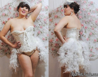 Custom Burlesque Showgirl Costume Wedding Bridal Corset Cincher w/Bustle (White)