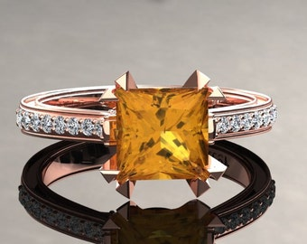 Yellow Sapphire Engagement Ring Princess Cut Yellow Sapphire Ring 14k or 18k Rose Gold Matching Wedding Band Available SW12YSR