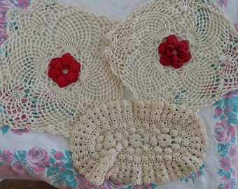 Three Cotton Crocheted Doilies