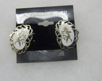 Sterling Silver 925 Silver and White Clip Earrings #7038