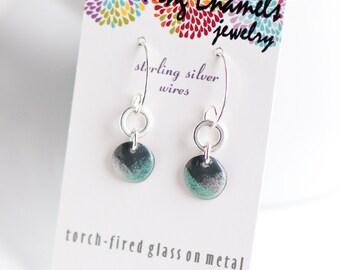 Modern Boho Dangle Earrings, Green Gray White 1/2 inch Discs, Drop Earrings, Enamel Earrings, Sterling Ear Wires, Boho Earrings, Boho Chic