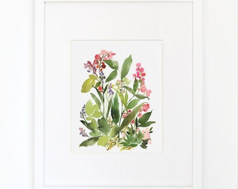 Spring Flora in Foliage - Watercolor Art Print