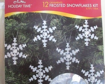 12 Frosted Beaded Snowflake Kit