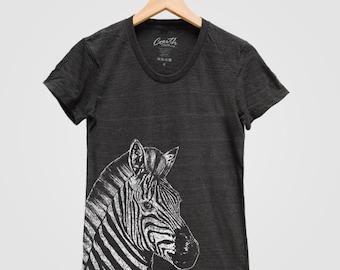 ZEBRA Print Shirt Women Custom Hand Screen Print Tri-Blend Short Sleeve Tshirt Available: S, M, L, XL