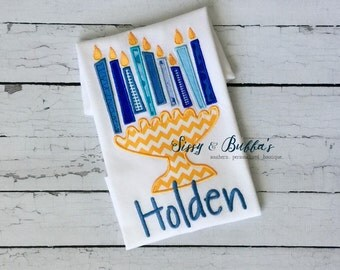 Personalized Hanukkah Menorah Appliqué Shirt, dreidel, bodysuit, Jewish