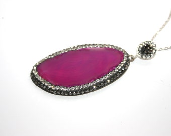 Hand Crafted Pink Agate Slice Pendant with black and clear zircon -  Elegant Gift Idea Valentines Day -  Mothers Day- Ready to Ship