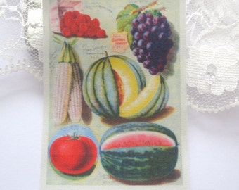 dollhouse kitchen tea towel vintage fruit design 12th scale miniature