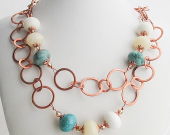 SALE - Big Copper RIngs with Mixed Gems and Swarovski Crystal Necklace