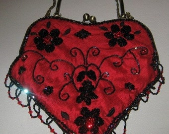 Red Silk evening bag with black beading