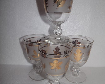 4 Mid Century Libbey Gold Leaf Water Wine Ball Stem Glasses Glassware Goblets