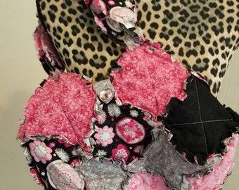 Rag quilt purse reversible
