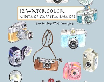 CLIP ART- Watercolor Vintage Camera Set. 12 Images. Digital Download. Lens. Shutter. Machine. Recorder.