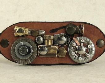 321 Motorcycle Steampunk Burning Man Bracelet Old Motorcycle Saddlebag Recycled Jewelry Industrial Machine Age