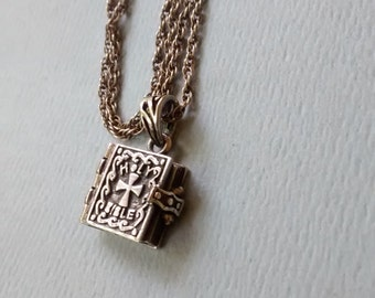 Vintage Bible Ithicus Locket Necklace Sterling Silver