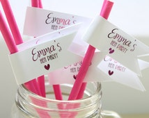 Personalised & Handmade Hen Party Straw Flags/Cupcake Toppers for Brides Hen Party in Gold/ Silver / Hot Pink / Purple / Teal / Red Foil