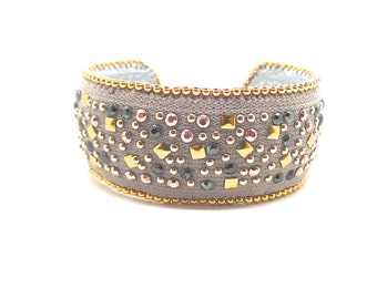 Grey Cuff Bracelet and Golden beads