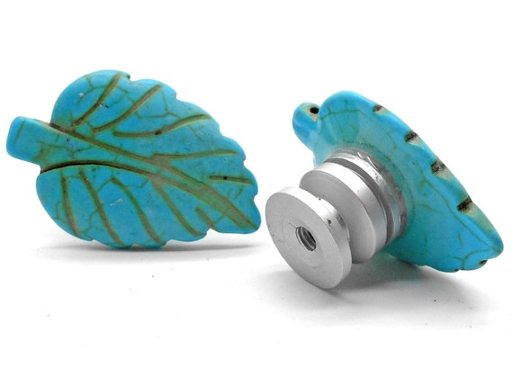 Items similar to knobs stone knobs cabinet knobs for Turquoise cabinet pulls