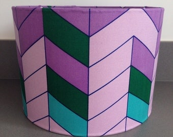 Handmade 30cm drum lampshade, covered in a vintage Textra fabric named  'Chevron'