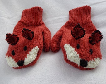 Fox Mittens-Adult or Teen size