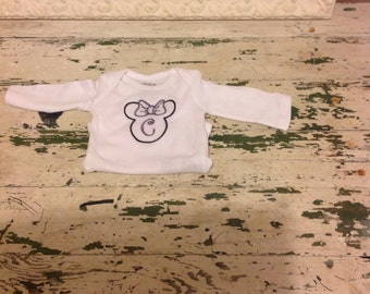 Monogrammed Minnie/Mickey  Mouse long sleeve infant onesie