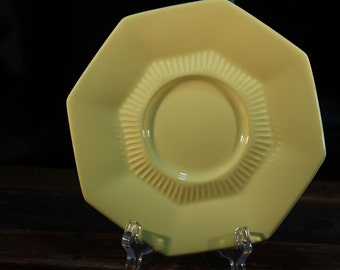 Vintage 1970s Independence Ironstone Octagon Light Yellow Saucer Interpace - 6 x 6 inches