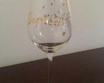 Wine glass. Baptism. Gift for the sponsor or the sponsor