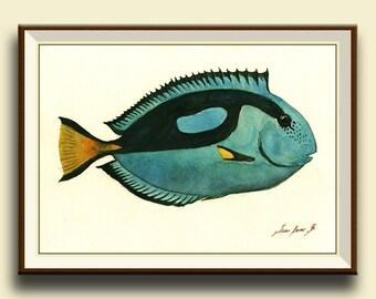PRINT-Pacific Blue Tang Fish - paracanthurus - Fish art wall decor -  watercolor painting print  fish - Art Print by Juan Bosco
