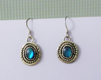 Sterling Silver Earrings small dangle drops handmade jewelry semi precious Blue stone