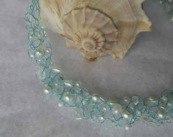 "Fresh Mint"" Crochet wire Necklace"