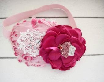 Cupcake Sweets - Cupcake Headband - Cupcake Bow - Cupcake Birthday - Baby Girl Headband - Pink Feather Headband - Hot Pink Headband - Fancy