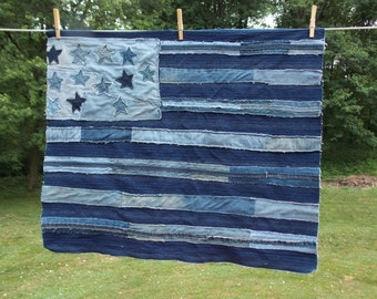 "USA American Flag Made from Repurposed Denim Blue Jeans 27""x32"""