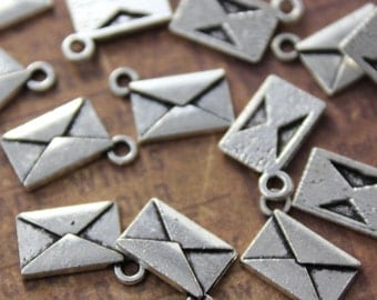 10 Envelope Charms Antiqued Silver Tone Double Sided 13 x 8 mm