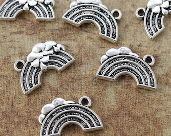 10 Rainbow Charms Rainbow Pendants Antiqued Silver Tone Double Sided 19 x 12 mm