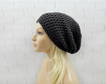Dark Grey Slouchy Beanie, Crochet Slouchy Hat, Slouchy Winter Hat, Crochet Beanie, Crochet Hat, Womens Beanie, Oversized Hat, Slouch Hat