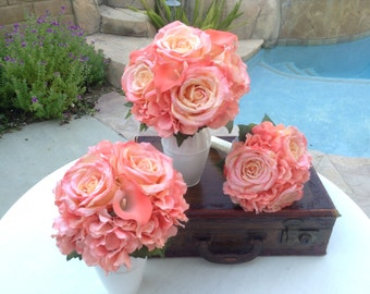 17 Piece wedding flower package in shades of coral