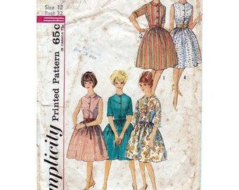 60s Simplicity sewing pattern 6960, dress sewing pattern, bust 32 inches
