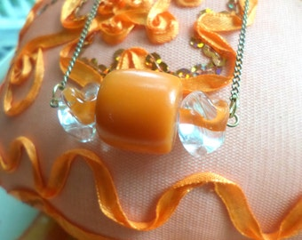 SALE-Handmade Orange Halloween Candy Beaded Necklace / Candy Necklace / Trick Or Treat / Beaded Jewelry / Orange Candy Necklace