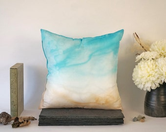 Handpainted Silk Pillow Cover, Turquoise and Sand Abstract Design