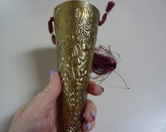 Vintage Embossed Brass Potpourri Holder