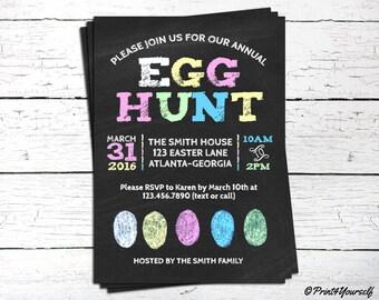 Egg Hunt Invitation // Chalkboard Easter Egg Hunt Invite // Personalized Printable Easter Egg Hunt Invitation // Easter Invite // Chalkboard
