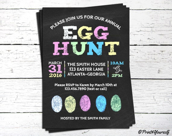 Chalkboard Easter Egg Hunt Invite