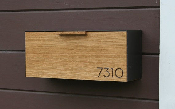 modern mailbox white oak and stainless steel mailbox. Black Bedroom Furniture Sets. Home Design Ideas