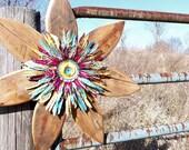 Rustic Wall Decor, Farmhouse Decor, Reclaimed Wood Art, Metal Outdoor Wall Art, Gypsy Decor, Primitive Decor, Bohemian, Primitive Wreath