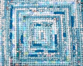 Rag rug, Ocean blue locker hook rug, table rug, hand made rug, trivet