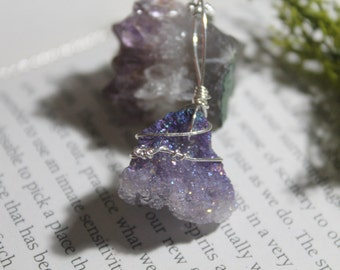 Lilac Aura Quartz cluster silver plated necklace