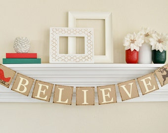 Believe Banner, Christmas Banner, Believe Sign, Rustic Christmas Banner, Reindeer and Sleigh, Christmas Garland, Christmas Decorations, B011